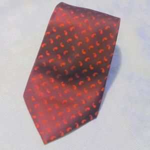Claiborne Men's Red Paisley Print 100% Silk Tie